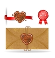 Wax seal collection in heart shape vector image vector image