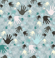 Palm Hand Seamless Retro Pattern on Triangle vector image