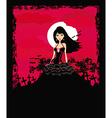 beautiful vampire girl in the moonlight vector image