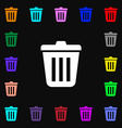 Bin icon sign Lots of colorful symbols for your vector image
