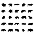 Rhino silhouettes set vector image