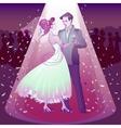 Couple dancing wedding dance in the spotlight vector image
