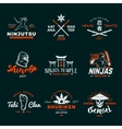 Set of Japan Ninja Logo Ninjato sword insignia vector image