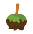 Soft serve ice cream in chocolate on wooden stick vector image
