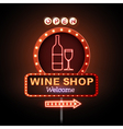 Wine shop neon sign vector image