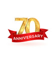 isolated golden seventieth birthday numbers with vector image