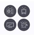 TV retro radio and alarm clock icons vector image