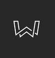 W letter logo monogram modern mockup black and vector image