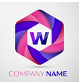 W Letter colorful logo in the hexagonal on grey vector image