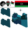 map of libya with named districts vector image