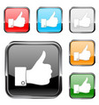 thumb up button square button with chrome metal vector image
