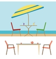 Summer Beach Furniture Flat Set vector image