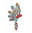 authentic injun hat with feathers isolated cartoon vector image