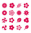 digital red flowers set vector image