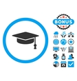 Graduation Cap Flat Icon with Bonus vector image