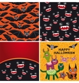 Happy Halloween set of two seamless patterns and vector image