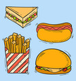 icons fast food hand drawn restaurant vector image