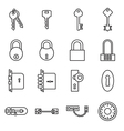 Icons of keys and locks vector image