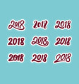 new year 2018 calligraphic numbers set vector image