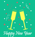 new years card with glasses of champagne green vector image