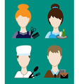 Profession people cook hairdresser teacher waiter vector image