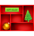 red shelf with Christmas and New Year elements vector image