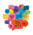 colorful set collection dialogue social icons vector image