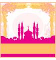 Ramadan background - mosque silhouette card vector image