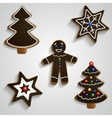Chocolate ginger bread man tree and stars set vector image