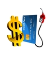 Bank card with gas pump nozzle and dollar sign vector image