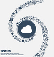 Cloud icon sign in the center Around the many vector image