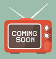 Flat Design Coming Soon Title on Retro TV Screen vector image