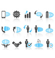 global business icons blue series vector image