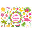 hello summer collection of design elementsflat vector image