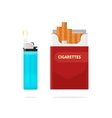 Cigarettes pack box and lighter with fire vector image