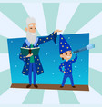 astronomer grandfather with little boy vision vector image