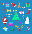 set of happy new year and merry christmas elements vector image vector image