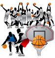 Basketball players silhouettes set vector image