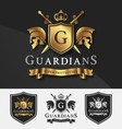 Shield and Two Guardians with cross knight logo vector image