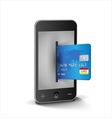 Internet shopping with smartphone and creditcard vector image vector image
