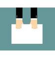 Hands and Blank billboard Businessman keeps clean vector image