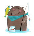 bear fisherman with fishing rod catching fish vector image