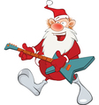 Cute Santa Claus Jazz Guitarist vector image