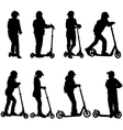 Set of silhouettes of children riding on scooters vector image