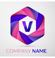 V Letter colorful logo in the hexagonal on grey vector image