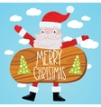 Santa Claus with wood table Christmas background vector image