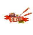Banner Sushi with chopstick and ribbon vector image