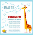 children poster with cartoon giraffe vector image