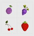 colorful fruit icon set on white background vector image