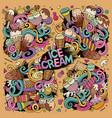 doodle cartoon set of ice-cream doodle vector image